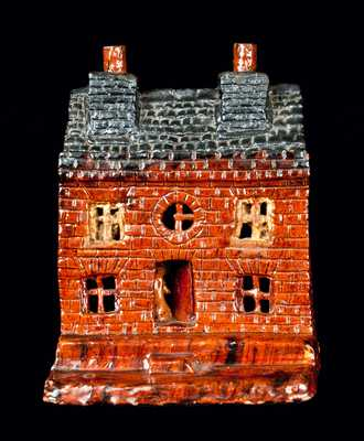 Exceptional Pennsylvania Redware House Sculpture