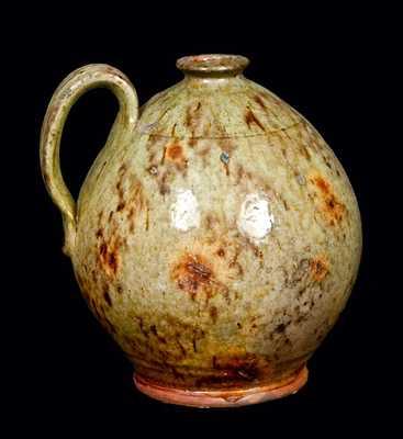 Ovoid New England Redware Jug w/ Exceptional Glaze