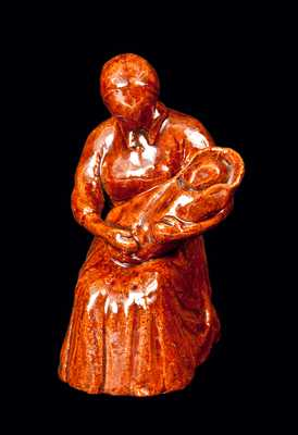 Redware Figure of Mother with Child