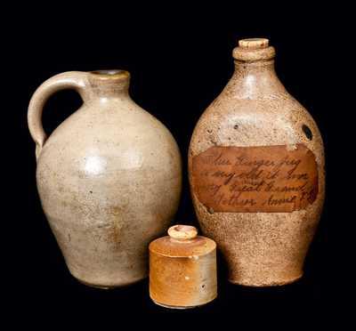 Lot of Three: Stoneware Jug, Stoneware Flask, and Stoneware Inkwell