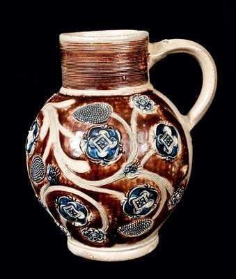 Very Fine Westerwald Bulbous Stoneware Jug, c1690