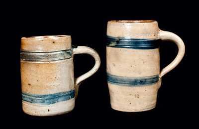 Two Cobalt-Banded Stoneware Mugs, Northeastern U.S. origin