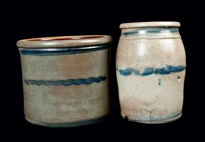 Two Stripe-Decorated Stoneware Crocks, Western PA or WV origin.