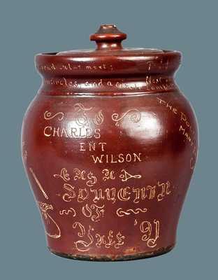 Outstanding Yale Stoneware Lidded Tobacco Jar