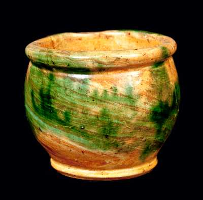 Small Strasburg, VA Multi-Glazed Redware Jar, Shenandoah Pottery