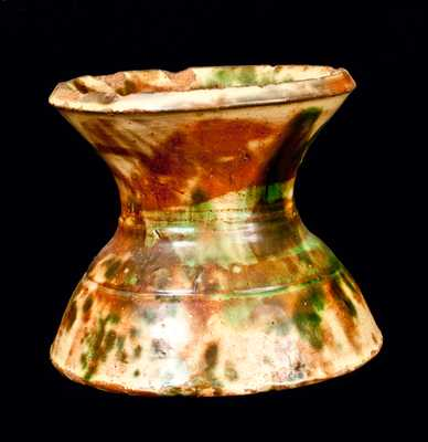 Strasburg, VA Multi-glazed Redware Spittoon, Shenandoah Pottery