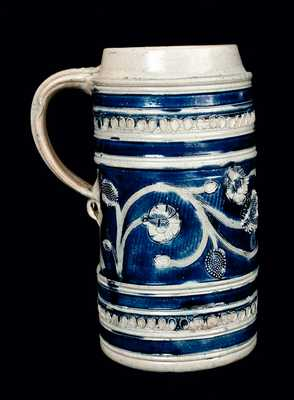 Large Westerwald Stoneware Mug with Elaborate Floral Design