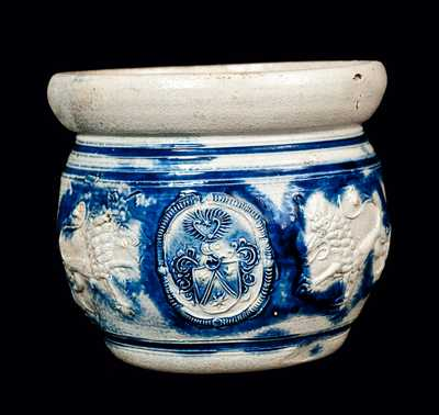 Westerwald Stoneware Chamber Pot with Applied Lions and Medallion