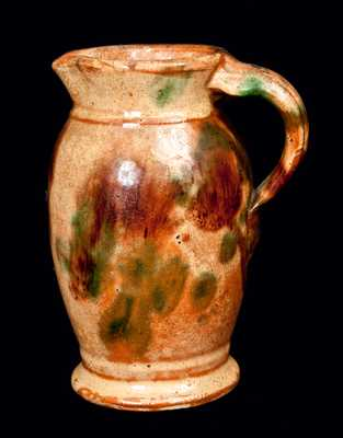 Strasburg, VA Multi-glazed Redware Pitcher, Shenandoah Valley