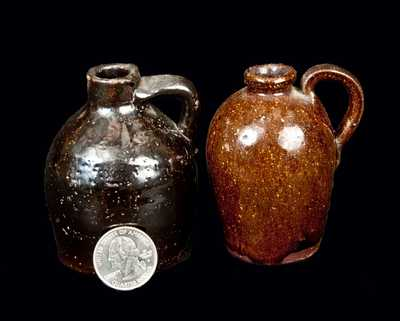 Two Miniature Glazed Stoneware Jugs, possibly Southern