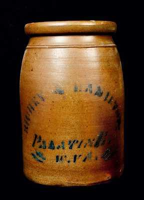 RICHEY & HAMILTON PALATINE, WV Stoneware Canning Jar
