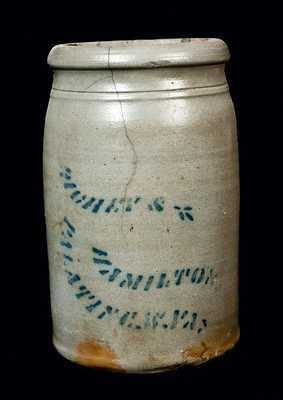 RICHEY & HAMILTON / PALATINE, WV Stoneware Canning Jar