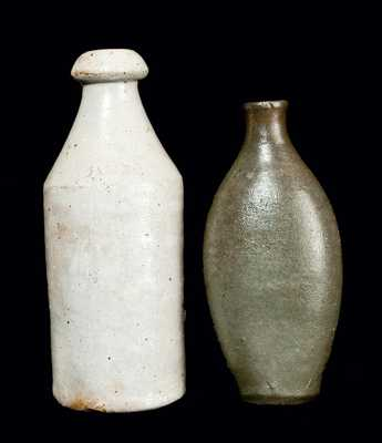 Lot of Two: Stoneware Bottle Impressed J. A. KEELER and Stoneware Flask