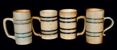 Lot of Four: Molded Stoneware Mugs, attrib. Whites Utica