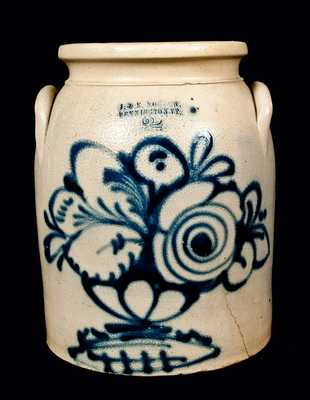 J. & E. NORTON / BENNINGTON, VT Stoneware Crock w/ Floral Compote