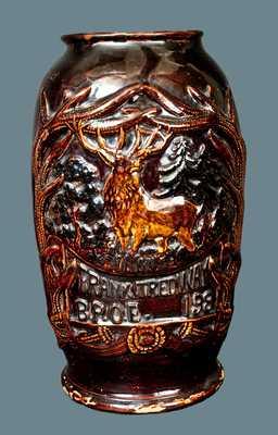 Rare Ohio Albany Slip Stoneware Elks Club Presentation Vase