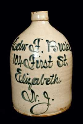 Elizabeth, NJ Stoneware Advertising Jug, Fulper Pottery