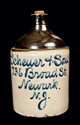 Newark, NJ Stoneware Advertising Jug, Fulper Pottery