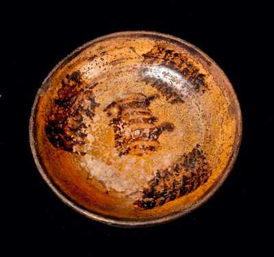 Redware Dish with Manganese Sponging