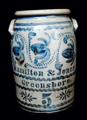 Elaborately Decorated 5 Gal. Hamilton & Jones Stoneware Crock