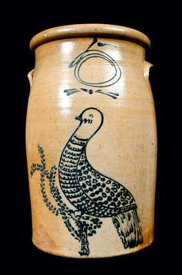 Exceptional 5 Gal. Stoneware Slip-Trailed Bird Churn