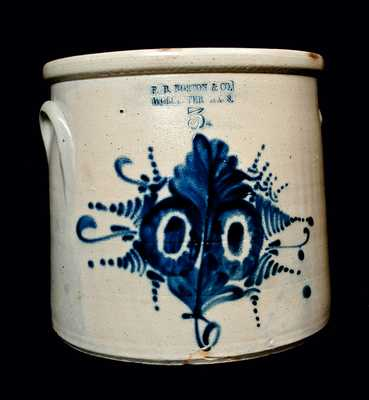 F. B. NORTON /WORCESTER, MASS Stoneware Floral-Decorated Crock
