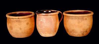 Lot of Three: Redware Jars, Two Impressed B & C