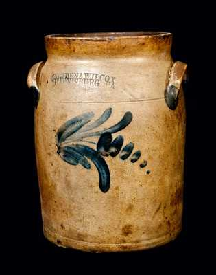 COWDEN & WILCOX / HARRISBURG, PA Decorated Stoneware Crock