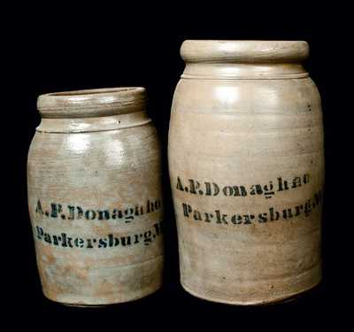 Lot of Two: A. P. DONAGHHO Stoneware Canning Jars