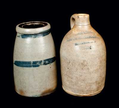 Lot of Two: Stoneware Wax Sealer and Small Stoneware Boston Jug