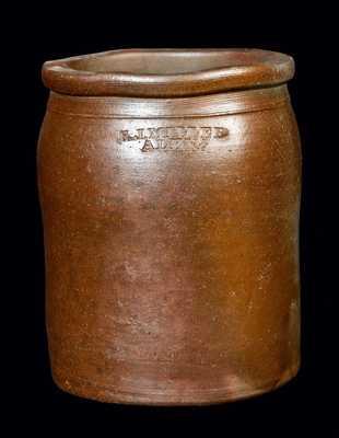 1/2 Gal. Stoneware Crock Signed E. J. MILLER Alexandria