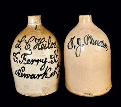 Lot of Two: JACOB ZIPF Newark Stoneware Script Jug and Stoneware Script Jug w/ Faint Mark