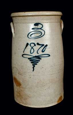 Midwestern Stoneware Churn Dated 1870