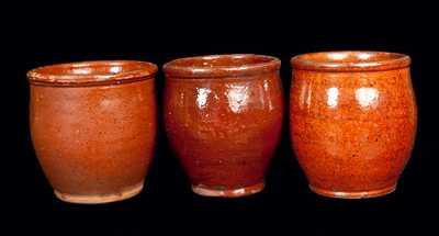 Lot of Three: Small Glazed Redware Jars