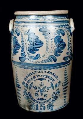 Outstanding Fifteen-Gallon HAMILTON & JONES / STAR POTTERY / GREENSBORO, PA Stoneware Jar