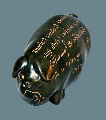 Anna Pottery California and Black Hills Railroad Map Pig Bottle