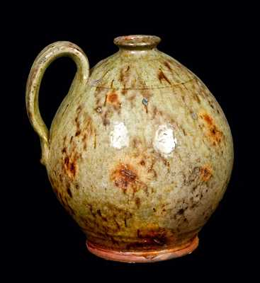 Exceptional Glazed New England Redware Jug