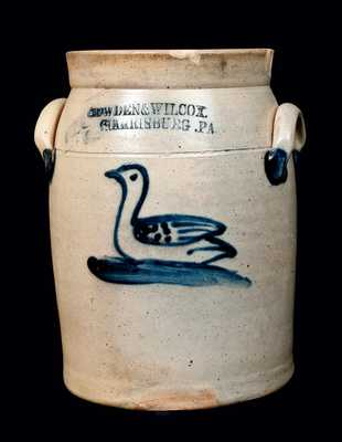 COWDEN & WILCOX / HARRISBURG, PA Stoneware Jar with Cobalt Swan Decoration