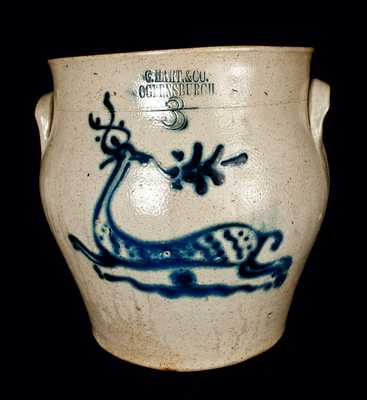 C. HART, OGDENSBURGH, NY Stoneware Cream Jar w/ Deer Decoration