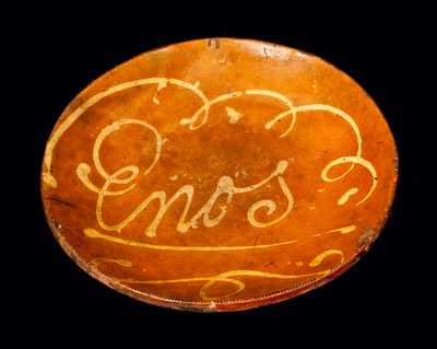 Slip-Decorated Redware Charger, Inscribed