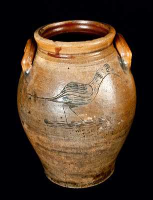 Outstanding Connecticut Stoneware Jar with Incised Shorebird and Tree Decorations