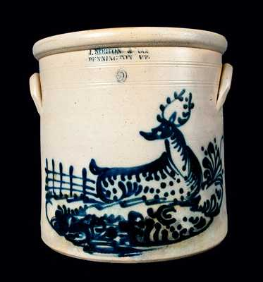 Outstanding 5 Gal. J. NORTON Stoneware Crock with Deer