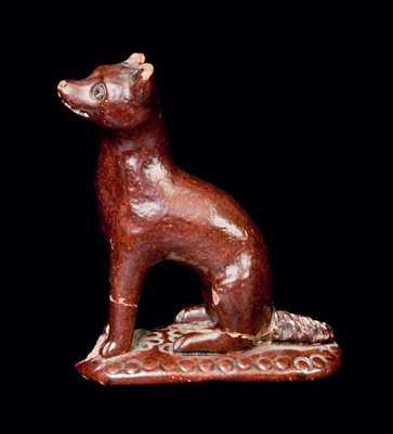Redware Figure of a Fox, possibly Solomon Bell, Strasburg, VA