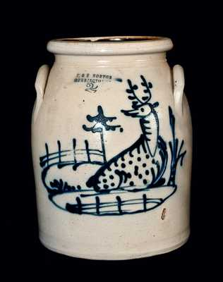 Exceptional J. & E. NORTON Stoneware Crock with Reclining Deer Decoration
