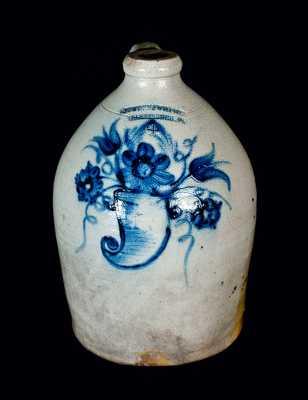 Rare COWDEN & WILCOX (Harrisburg) Stoneware Jug w/ Cornucopia Decoration
