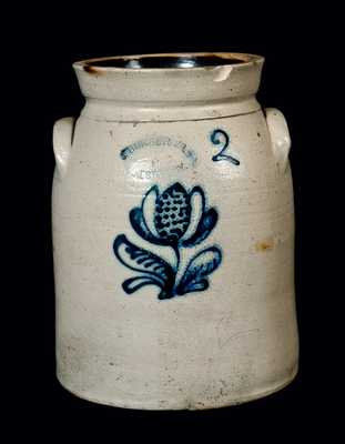 Cobalt-Decorated Stoneware Jar, New York State origin, Two-Gallon