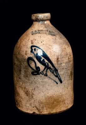 F. B. NORTON / WORCESTER, MA Stoneware Jug with Bird