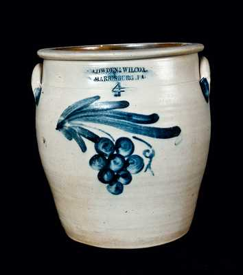 COWDEN & WILCOX Four-Gallon Stoneware Cream Jar with Grapes