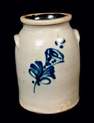 Two-Gallon NY State Stoneware Jug with Flower