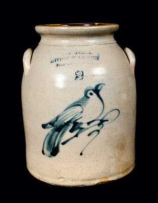 NEW YORK STONEWARE CO. Stoneware Crock with Bird